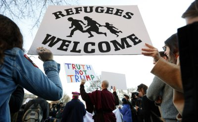 Marching for open borders in Washington on 27 January 2017.
