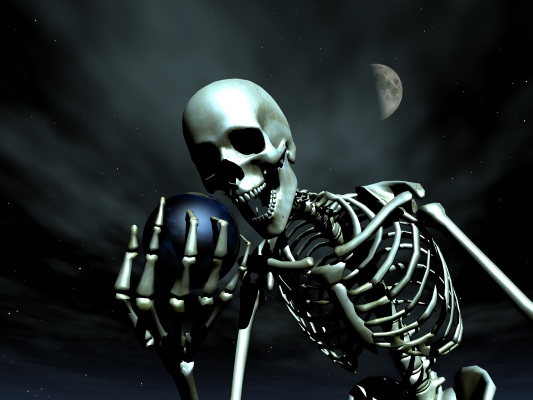 Skeleton holding the Earth
