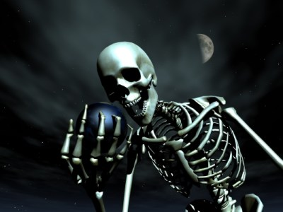 Skeleton holding the Earth
