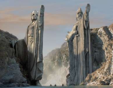 The Argonath statues in the Lord of the Rings