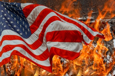 Flames engulf a burning home and the American Flag.