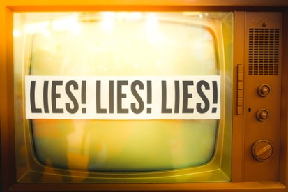 "TV showing ""Lies! Lies! Lies!"""