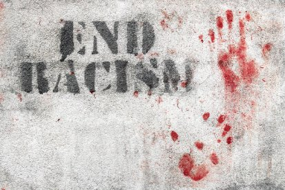 End Racism and Bloody Handprint - Dreamstime-138205791