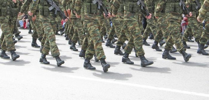 Soldiers marching in an parade