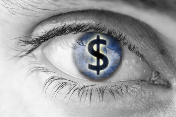 Dollar sign in pupil of an eye