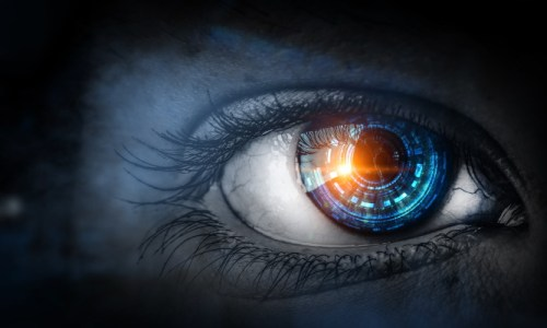 Vision - close up of eye with blue digital iris