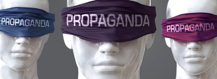 People blinded by propaganda. By GoodIdeas. AdobeStock - 349503568.