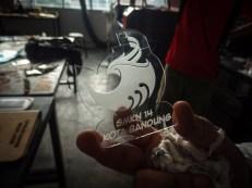 salah satu hasil laser cutting logo SMKN 14 Bandung oleh divisi operasional FabLab Bandung