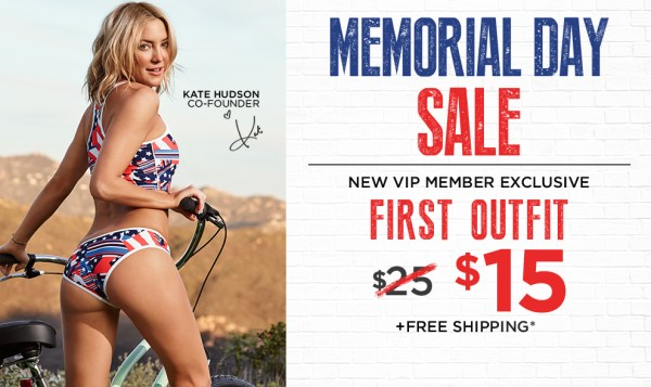 Kate Hudson invites you to try her new athletic wear outfits. Your first outfit for only $15!