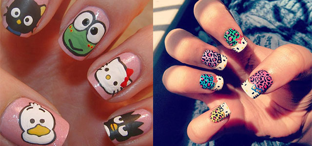 Cute Simple O Kitty Nail Art Designs Stickers