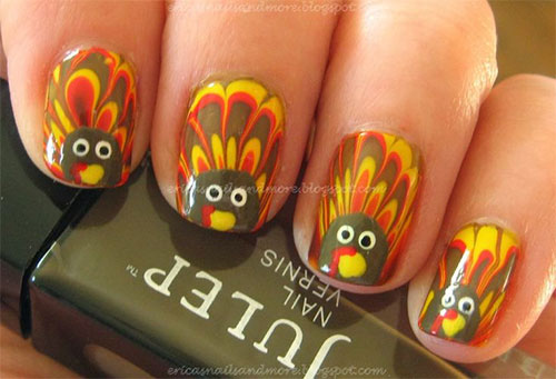 Creative Thanksgiving Nail Art Deigns Ideas 2016