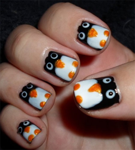 Easy Cute Penguin Nail Art Designs Ideas 2016