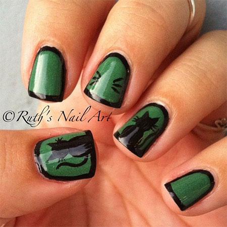 Black Cat Toe Nail Art