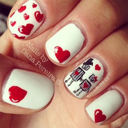 Elegant Heart Nail Art Designs Ideas For Valentines