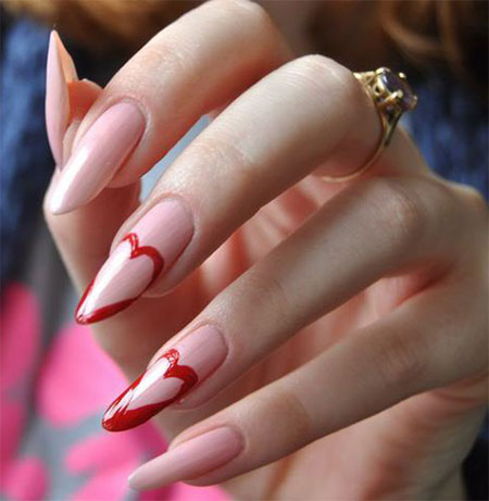 Stunning Pointy Heart Nail Art Designs Ideas For