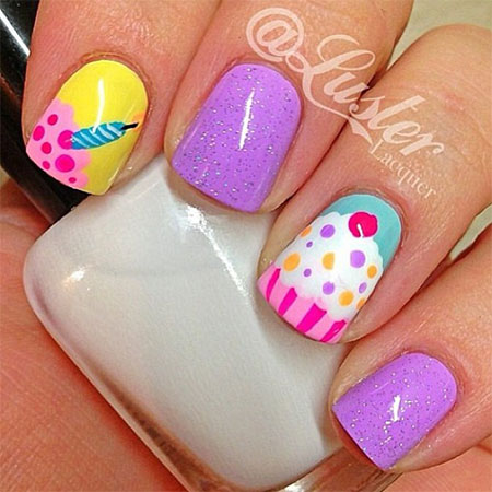 10 Awesome Happy B Day Cake Nail Art Designs Amp Ideas