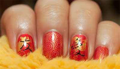 Chinese New Year Nail Art Design With Clock