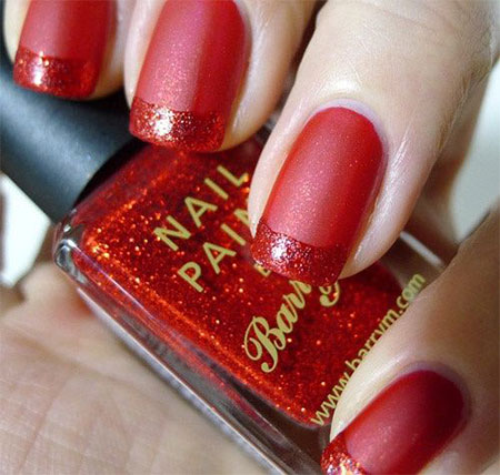 Simple Red Wedding Nail Art Designs Ideas 2016