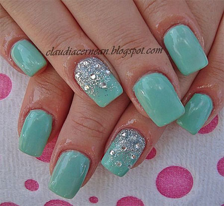 Black Tips Nail With Gems And Bows