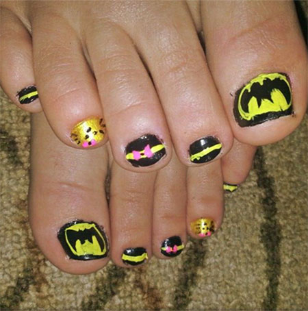 Amazing Batman Toe Nail Art Designs Ideas Stickers