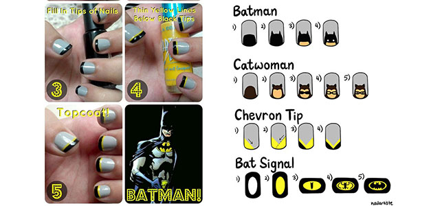Very Easy Step By Batman Nail Art Tutorials For Beginners Learners 2017 Fabulous Designs