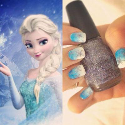 15 Disney Frozen Themed Inspired Nail Art Design