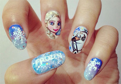 15 Disney Frozen Themed Inspired Nail Art Design