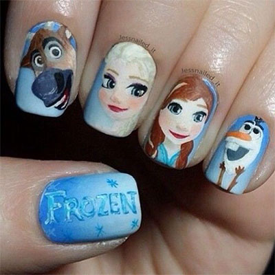 Disney Inspired Frozen Nail Art Tutorial Timelapse