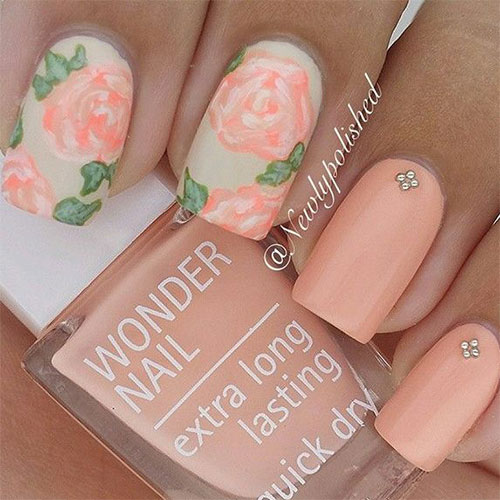 Spring Flower Nail Art With Rhinestones