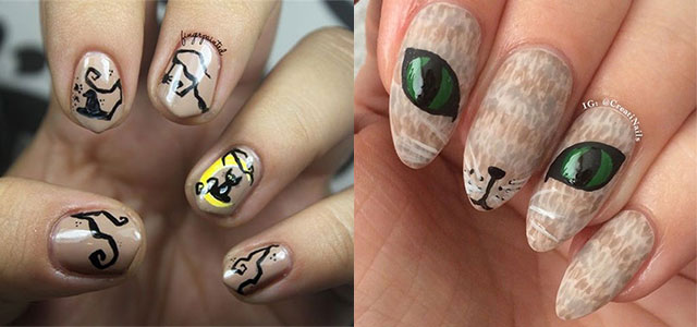 15 Cute Themed Cat Nail Art Designs