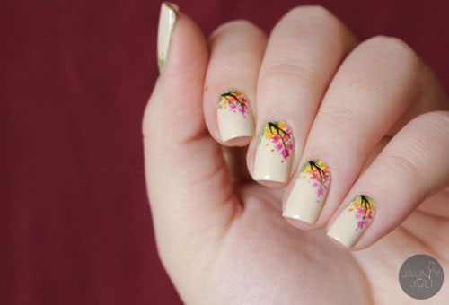 Orange Base Nails With Silver Autumn Flowers Nail Art