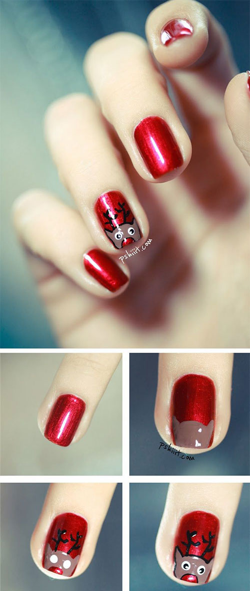 20 Easy Simple Christmas Nail Art Tutorials For