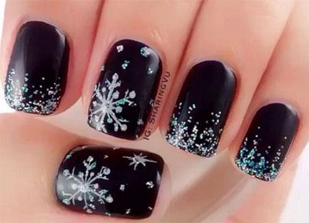 15 Winter Black Nail Art Designs Ideas Stickers