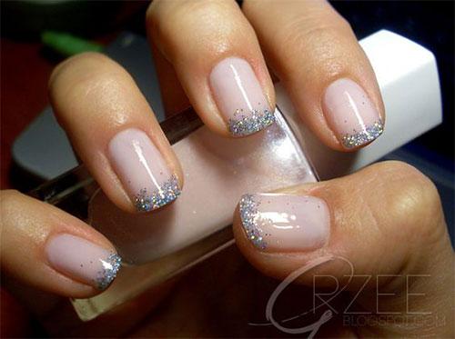 French Tip Glitter Nail Design