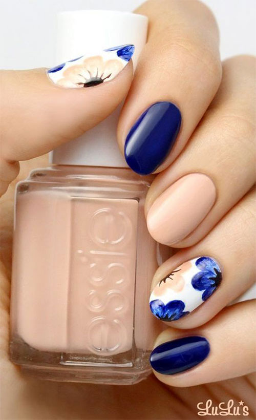Navy Blue Nails With Silver Flower Sting Nail Art