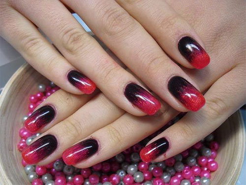 Red Nails With Gold Design