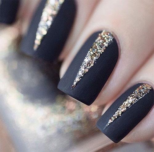 Red Nails With Rhinestones Design Idea