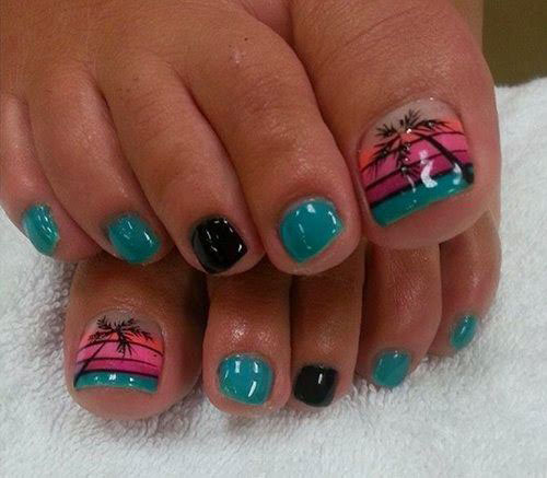 A Midnight Blue Themed Toenail Art Design This Very Elegant Looking Nail Uses