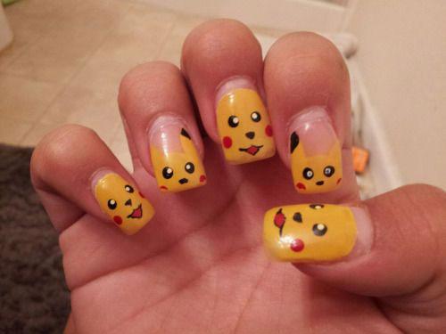 12 Pokemon Pikachu Nails Art Designs Stickers 2017