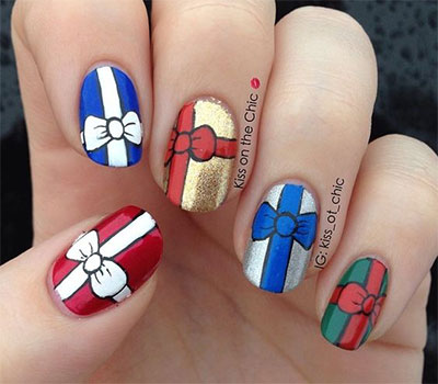 18 Christmas Present Nail Art Designs Ideas 2017
