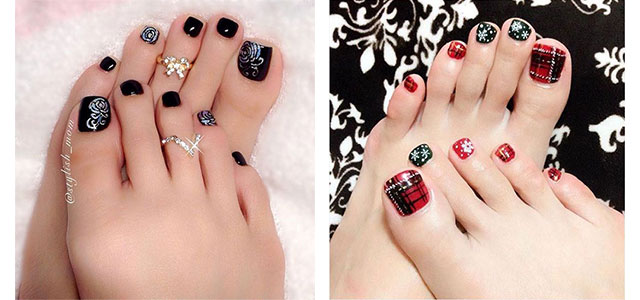 10 Winter Toe Nails Art Designs Ideas 2017
