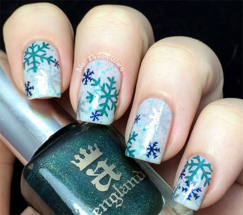 15 Winter Snowflakes Nail Art Designs Ideas 2017
