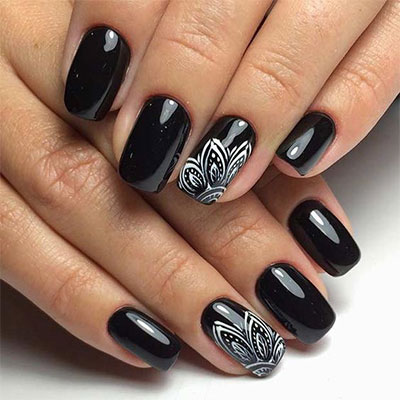 18 Awesome Winter Black Nails Art Designs Ideas 2017