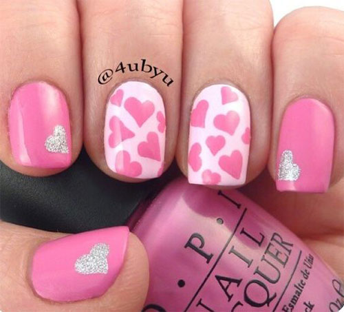15 Pink Valentines Day Nail Art Designs Ideas