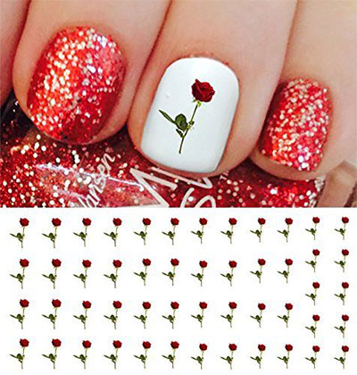 Rolabling 11pcs Set Valentines Y Lips Love Series Design Diy Nail Art Sticker