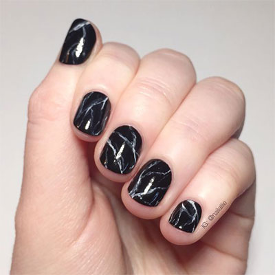 18 Black Marble Nails Art Designs Ideas 2017