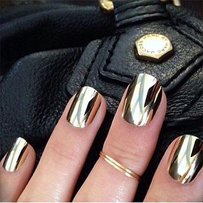 18 Gold Metallic Chrome Nails Art Designs Ideas