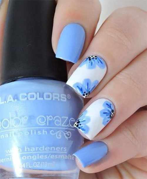 Blue And Pink Nail Design