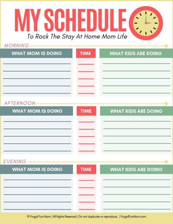 My Schedule   Frugal Fun Mom