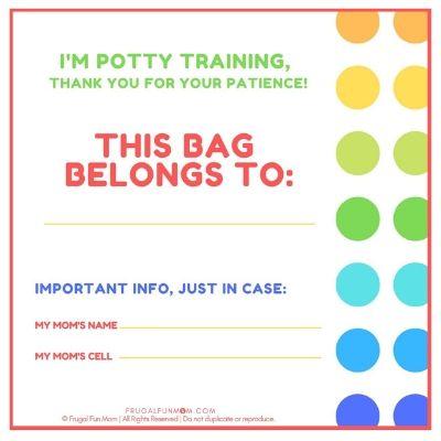 Potty Training Bag Tag   Frugal Fun Mom